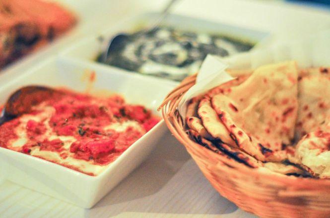 Naan with Butter Chicken Gravy + Paneer Saag Gravy :: $9+ / $13+ / $13+