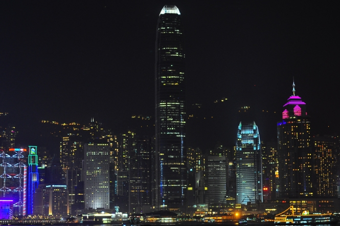 Victoria Harbor, the Hong Kong skyline.