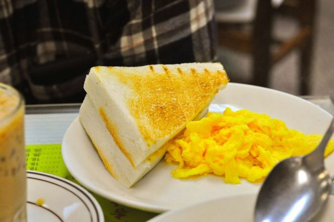 Toast with Scrambled Eggs.
