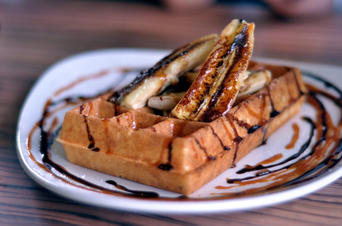 Belgian Waffle with Grilled Banana, Salty Caramel & Dark Chocolate sauce :: $9++