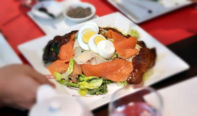Caesar Salad with Smoked Salmon, Hard-boiled Egg and Bacon :: $29++