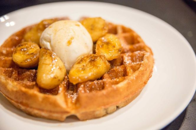 Buttermilk Waffles with Butter Rum Bananas and Vanilla Bean Ice Cream :: $13.50