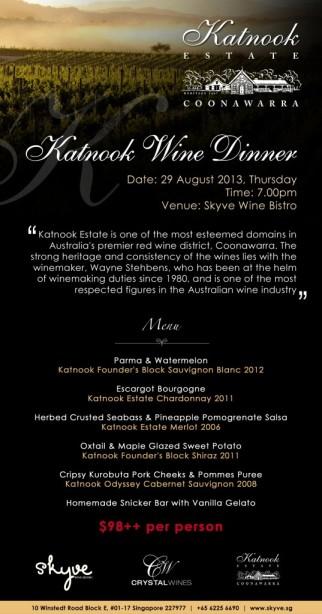 Katnook Estate Wine Dinner.