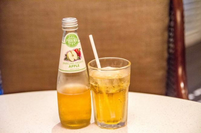 Phoenix Organic Sparkling Apple Juice.
