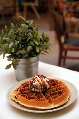 Belgian Waffle with Chocolate Chip Ice Cream :: $4.50