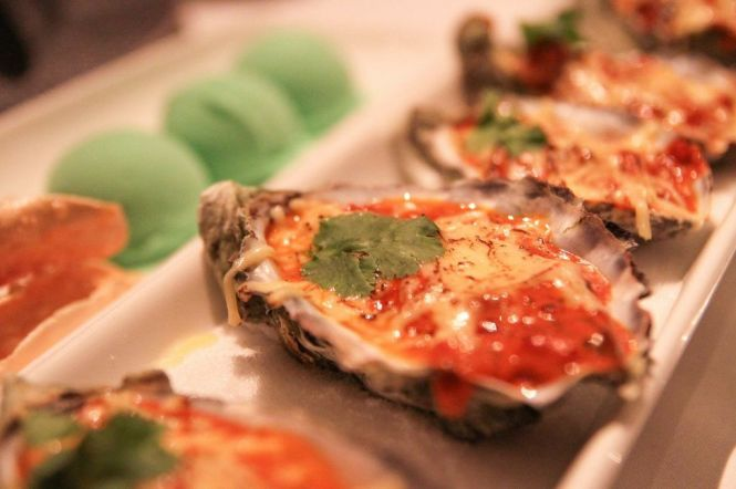 Oysters with Chili Ice Cream & Cress :: $49++