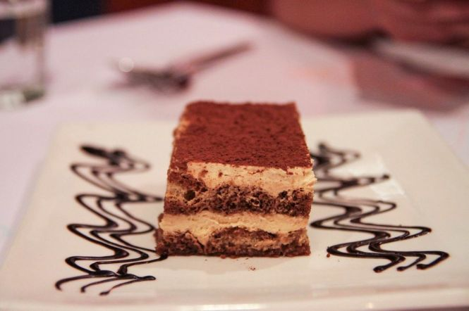 Tiramisu Al Mascarpone E Caffe. Traditional Italian Cheesecake with Mascarpone, Coffee & Strega Liquor :: $10++
