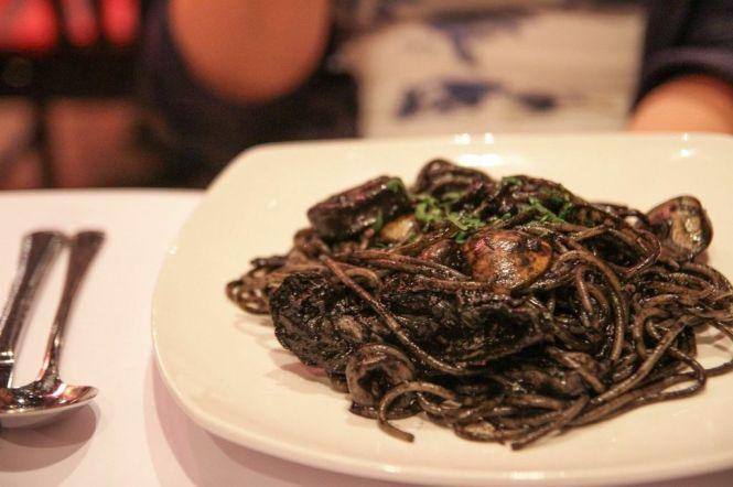 Spaghetti Della Pescatrice. Squid Ink Spaghetti with Seafood :: $23++