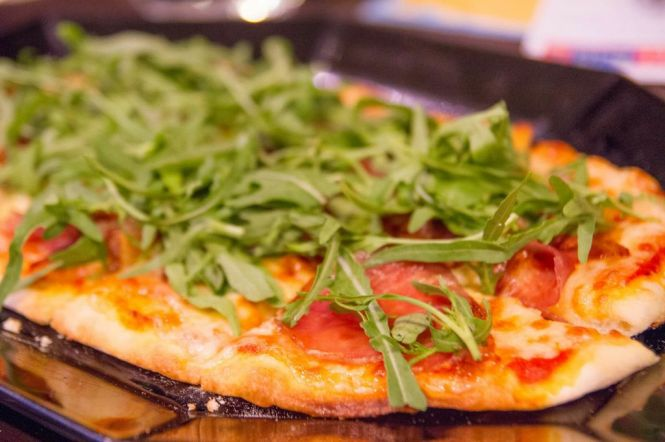 Coca Iberico Jamon Lomo & Rocket. Spanish Ham & Rocket Pizza :: $28