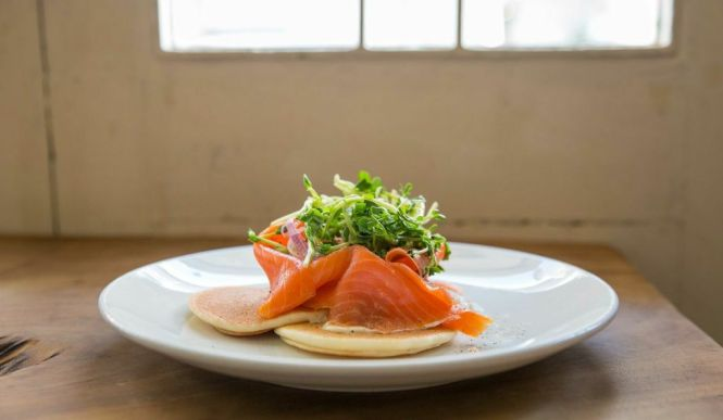 Blinis with Cream Cheese and Salmon :: $12