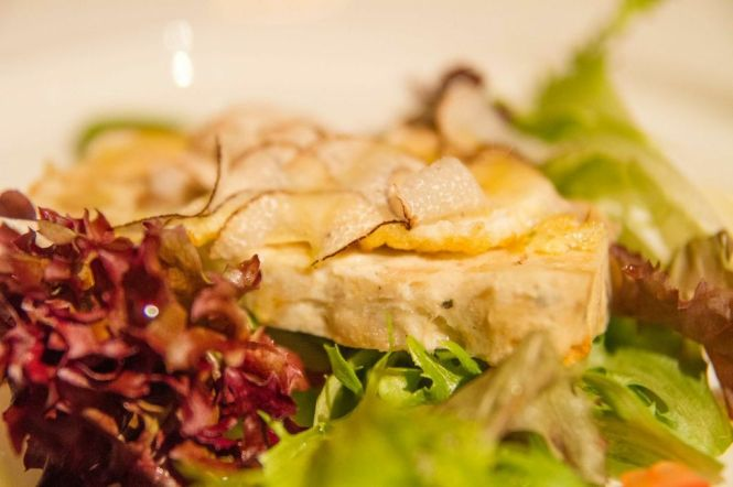 Warm Chicken Terrine with Fried Quail Egg & Shaved Seasonal Truffles :: $28++