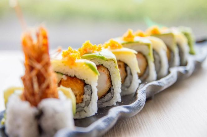 Mango & Avocado Dragon Roll :: $14.80++