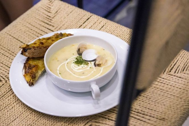 Clam Chowder :: $6.90 (with Grissini) $7.90 (with Blue Cheese Toast)