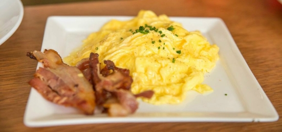 Additional Scrambled Eggs :: $3 Additional Bacon :: $2