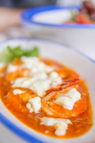 "Shrimps ""Saganaki"" :: $18.90++"