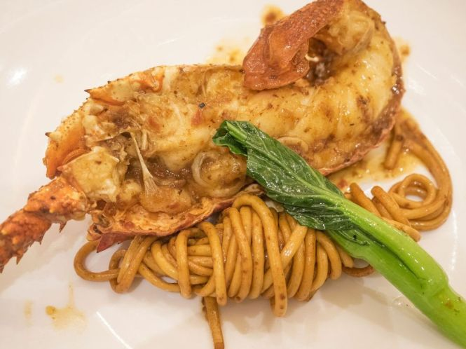 """Wok-fried Mashed Fish Noodles with Lobster in """"Lao Gan Die"""" Sauce :: $28++"""