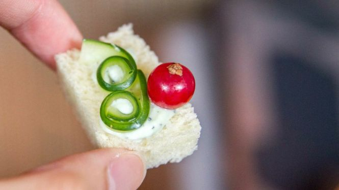 Cucumber & Cream Cheese Sandwich.