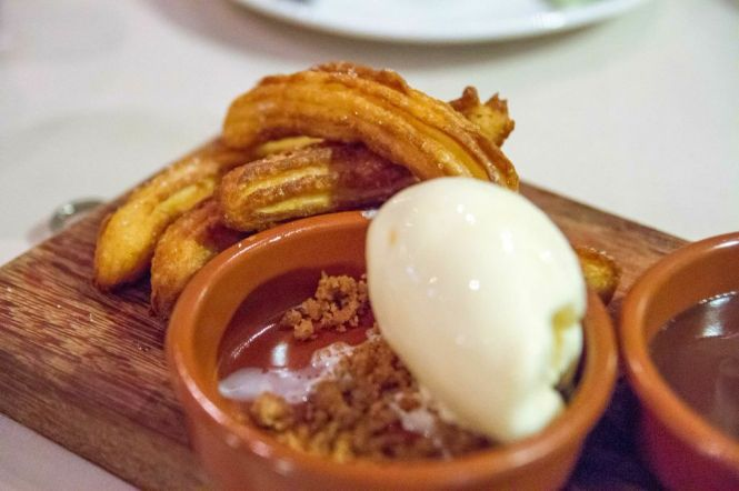 Churros with Chocolate & Honey Ice Cream :: $16++