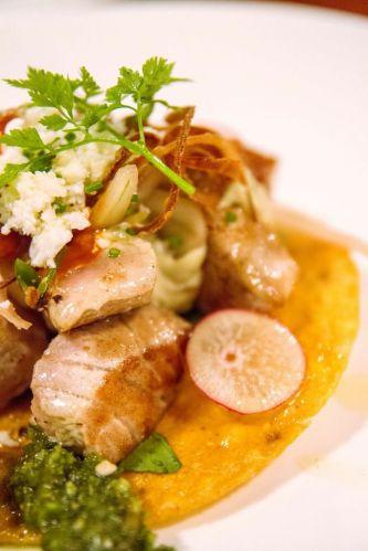 Seared Yellowtail Tuna Taco :: $14++