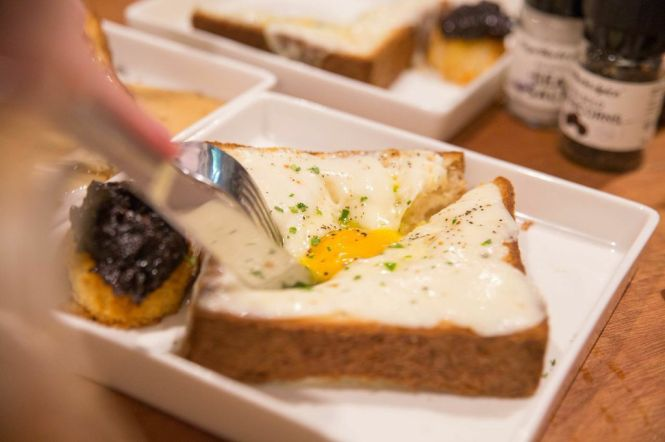 Truffled Egg-in-the-Hole Toast with Bacon Jam :: 15++