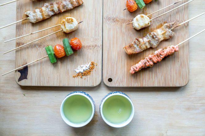 Yaki Platter (Tori Mentaiko, Kurobuta, Hotate, Okra and Tomato).