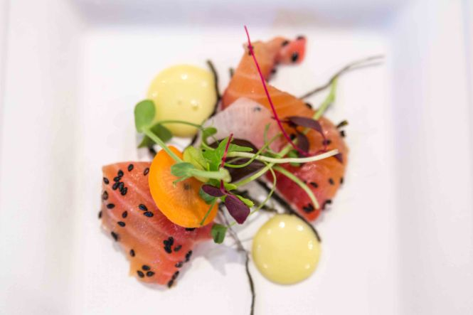 "Beetroot & Horseradish Cured King Salmon ""Yu Sheng"" Wasabi."
